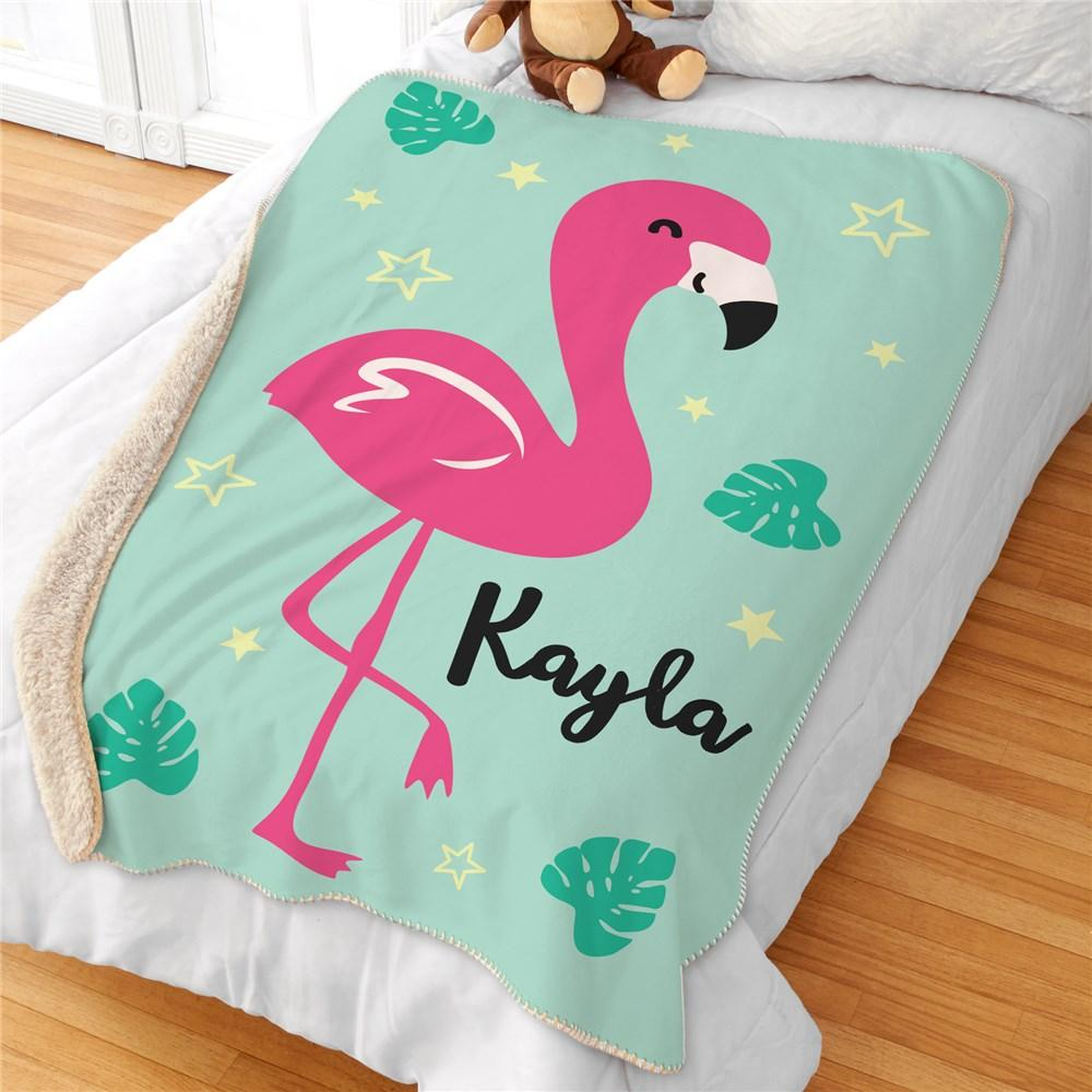 Personalized Flamingo Sherpa Blanket