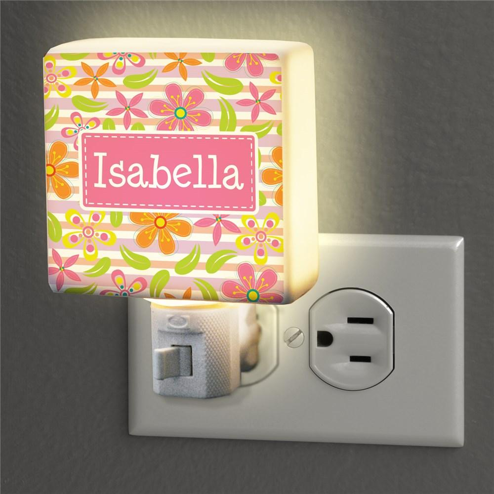 Personalized Floral Pattern Night Light