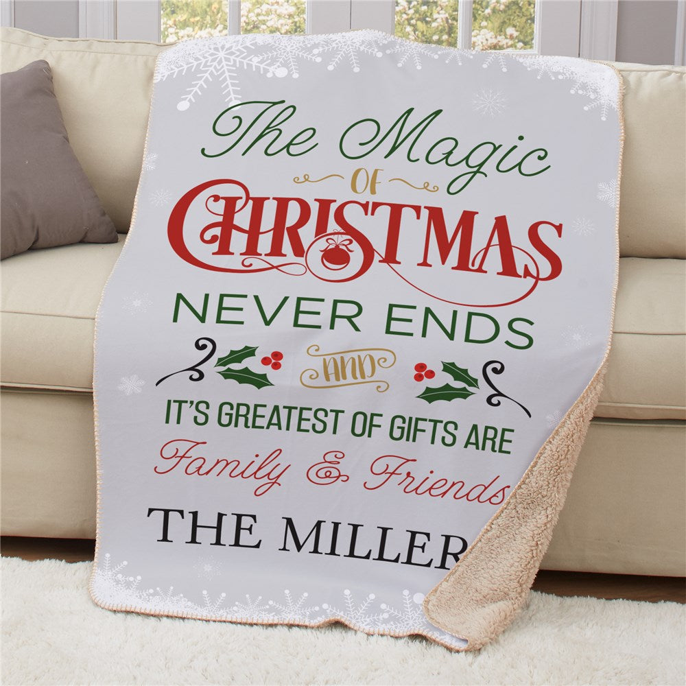 Personalized The Magic Of Christmas Sherpa Blanket