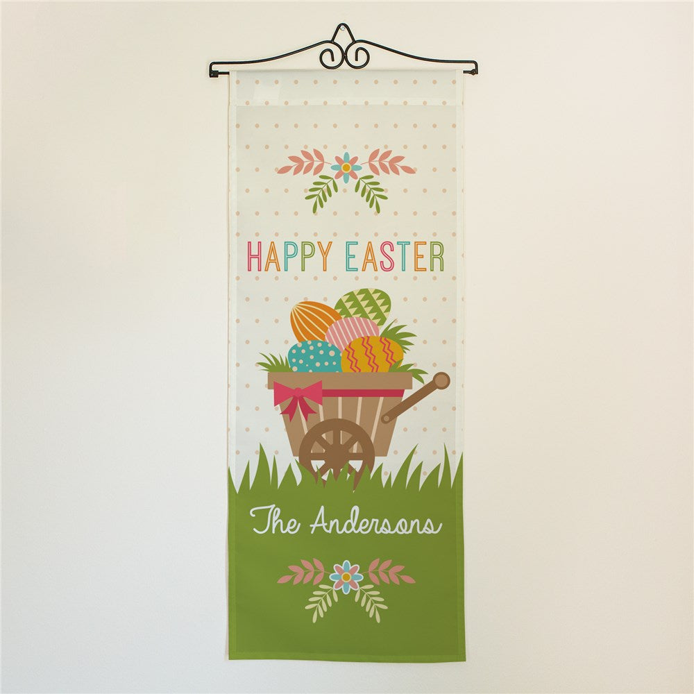 Personalized Happy Easter Wheelbarrow Wall Hanging