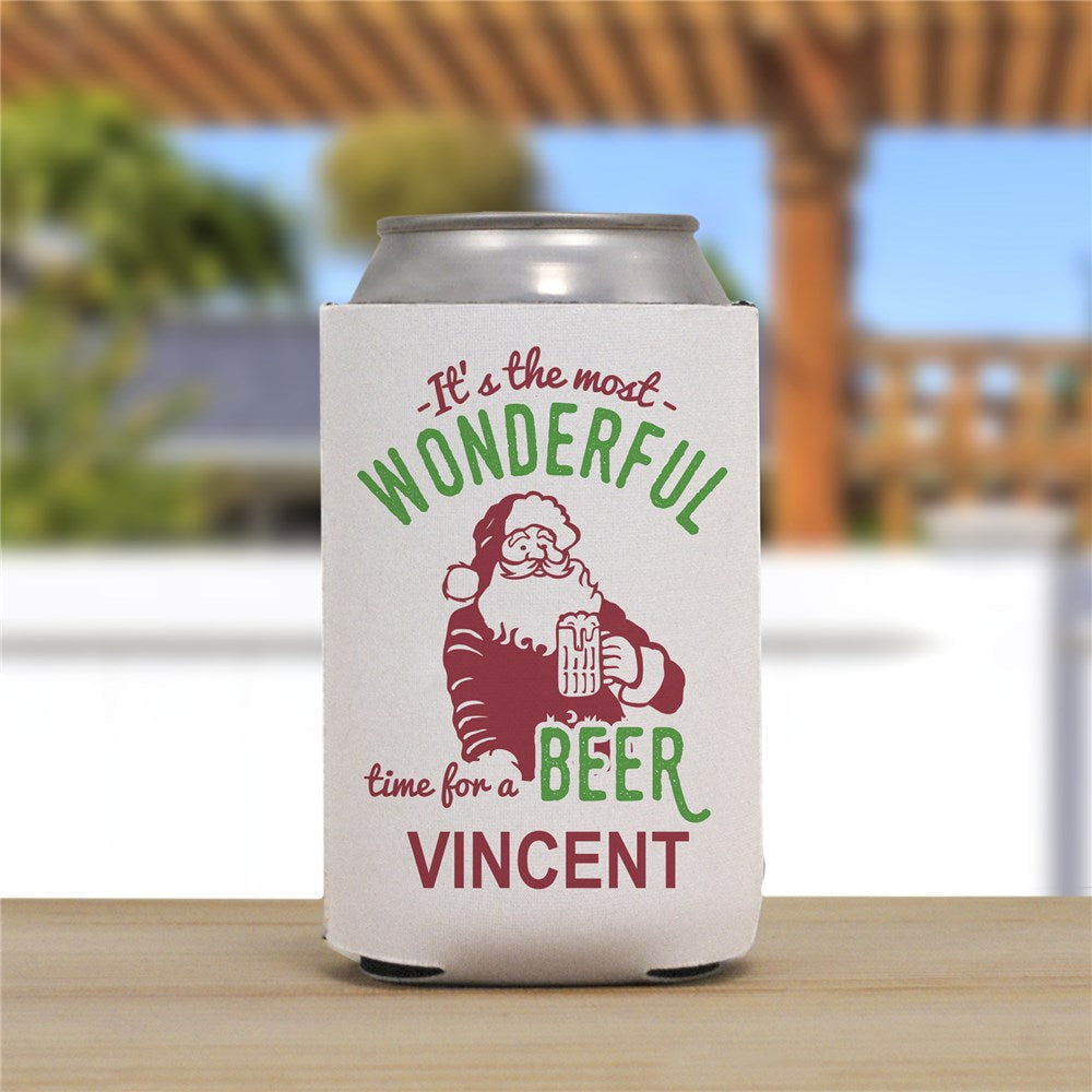 Personalized It's The Most Wonderful Time For A Beer Can Cooler