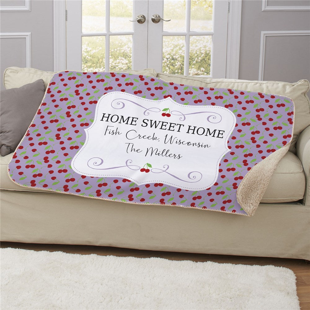 Personalized Cherries Sherpa Blanket