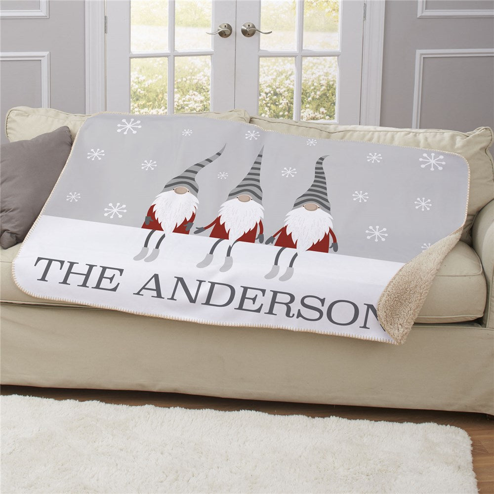 Personalized Christmas Gnome With Striped Hats Sherpa Blanket