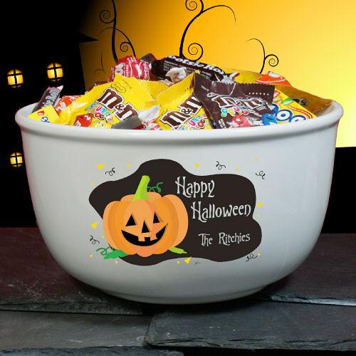 Personalized Happy Halloween Personalized Ceramic Bowl