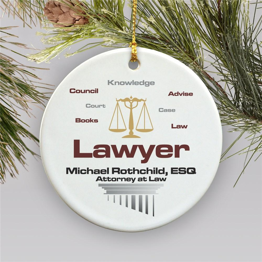 Personalized Lawyer Ceramic Christmas Ornament