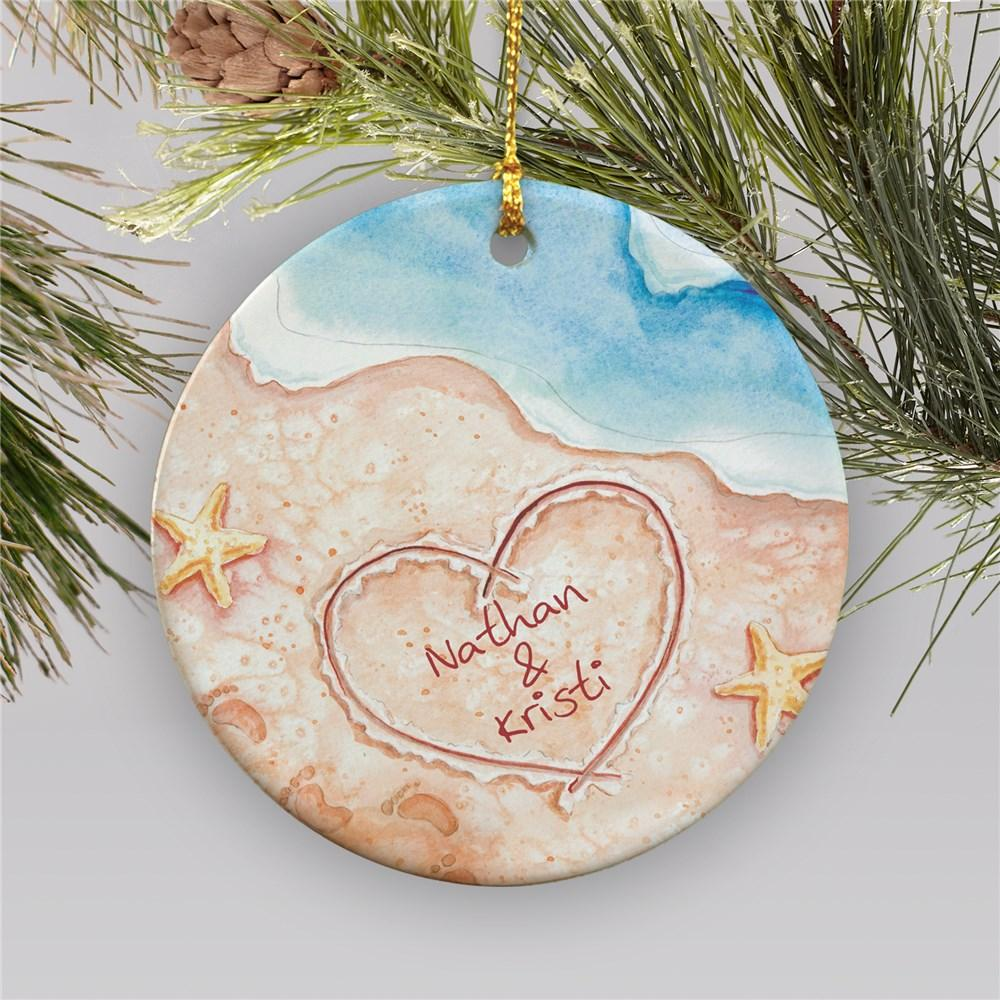 Personalized Couples Beach Christmas Ornament Gifts Happen Here