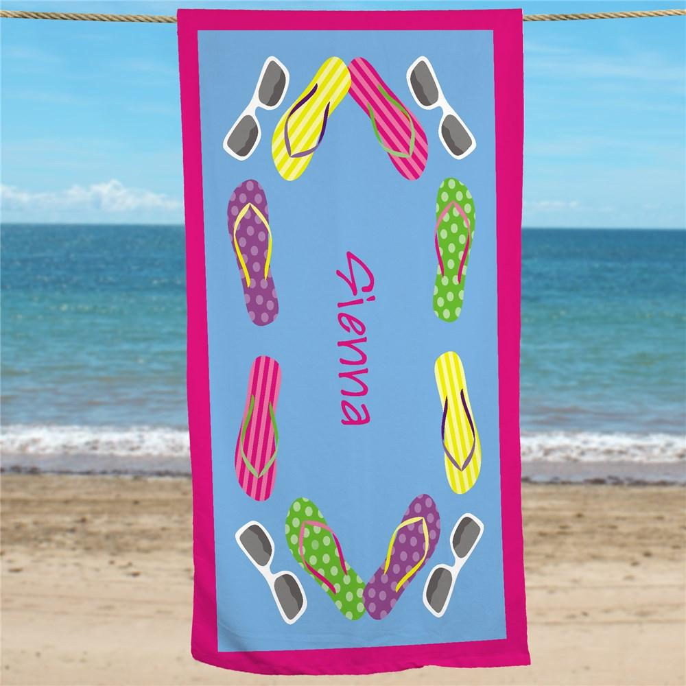 Personalized Flip Flop Beach Towel