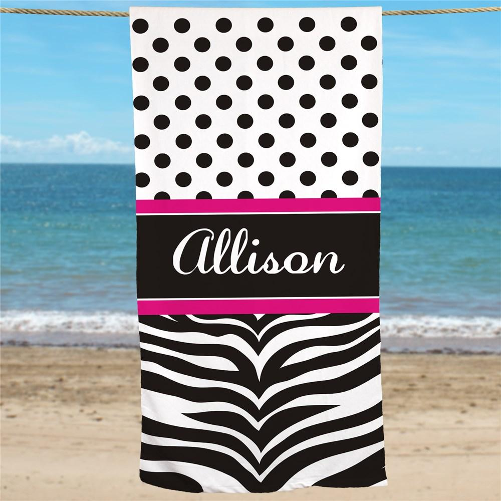 Personalized Zebra Print Beach Towel