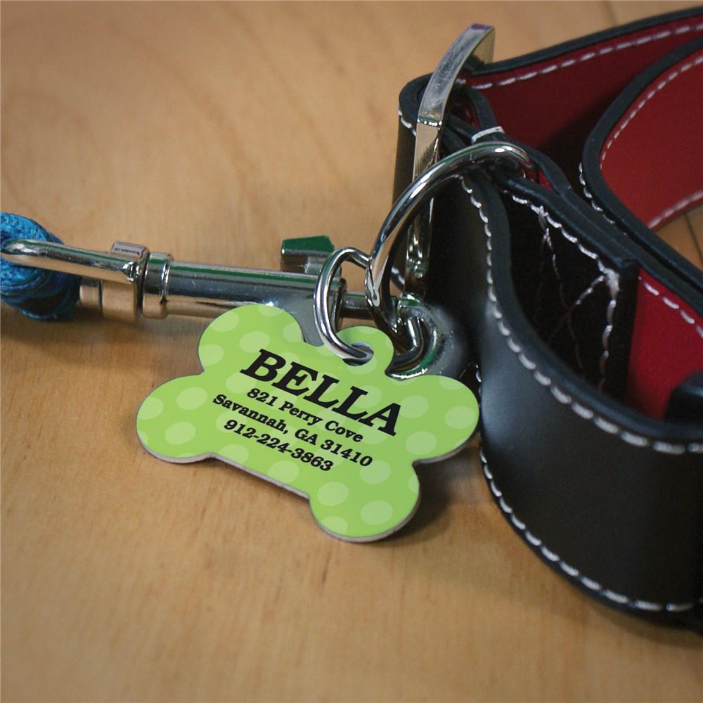Personalized Green Polka Dot Dog Bone Tag