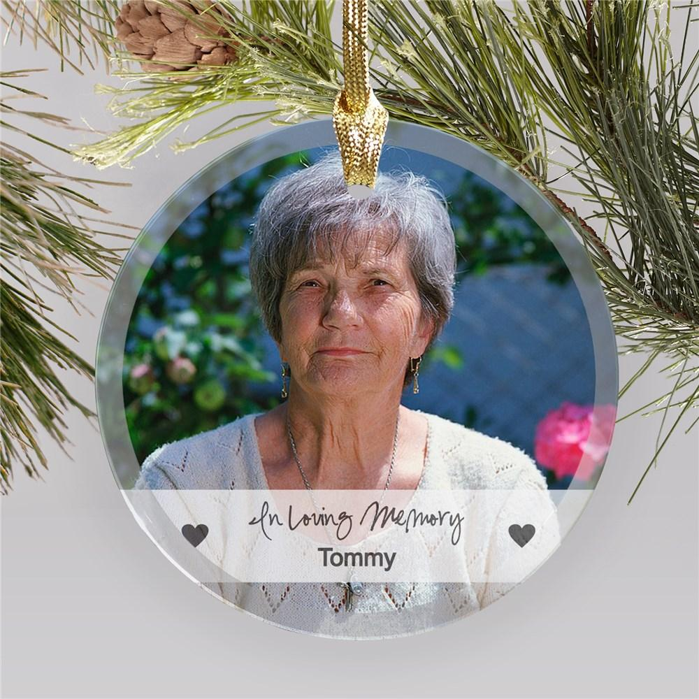 Personalized Glass Memorial Photo Ornament