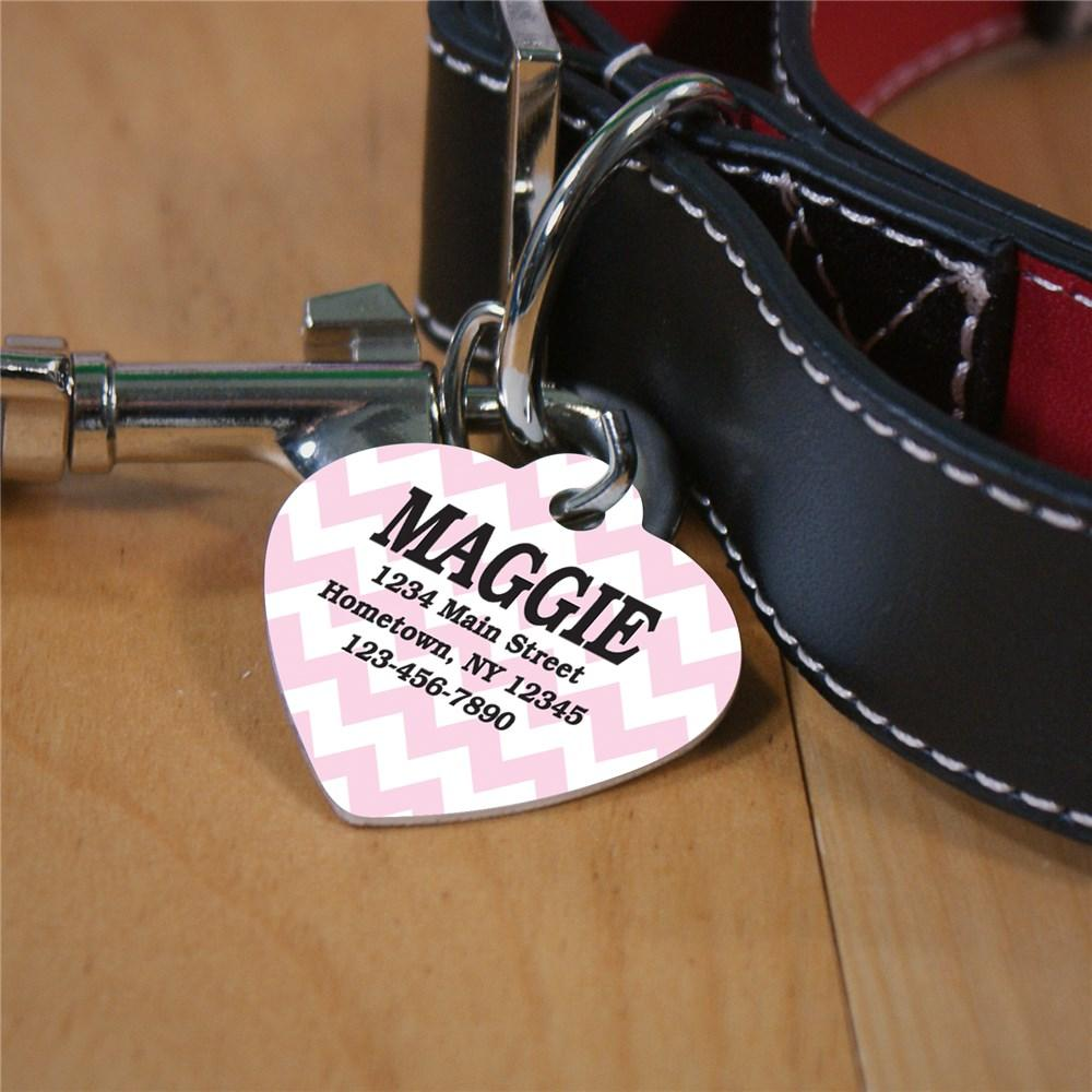 Personalized Chevron Heart Pet Tag
