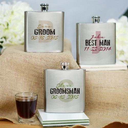 Personalized Wedding Party Initial Flask