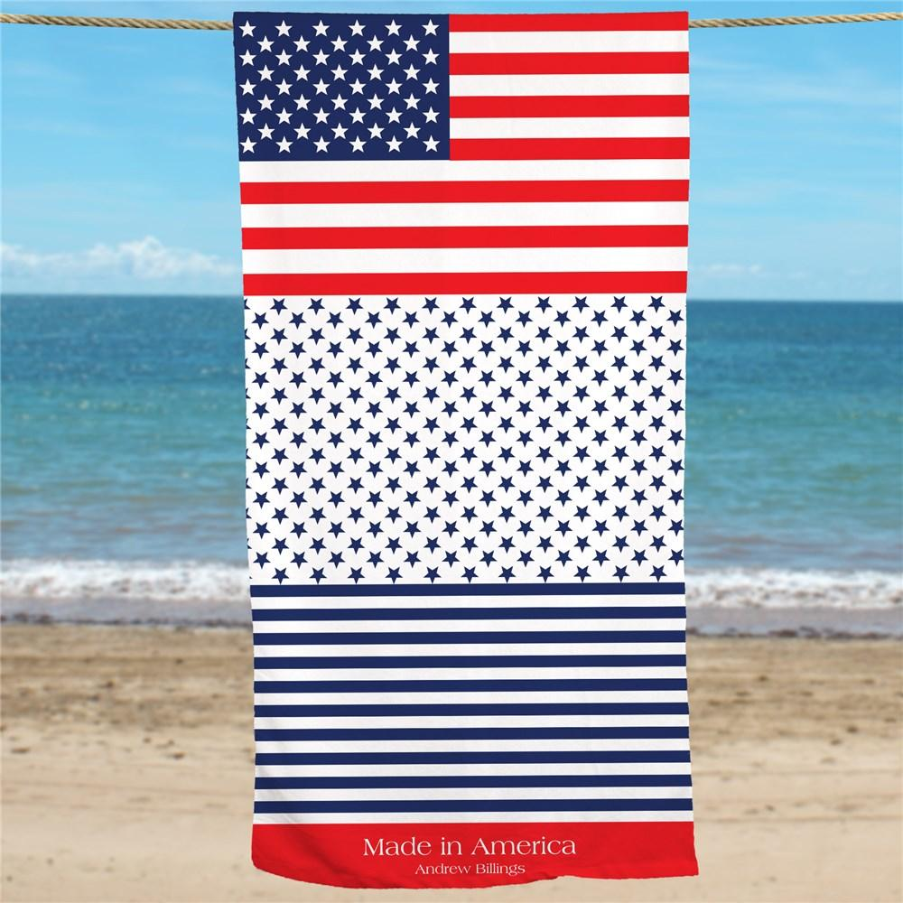 Personalized Patriotic Beach Towel