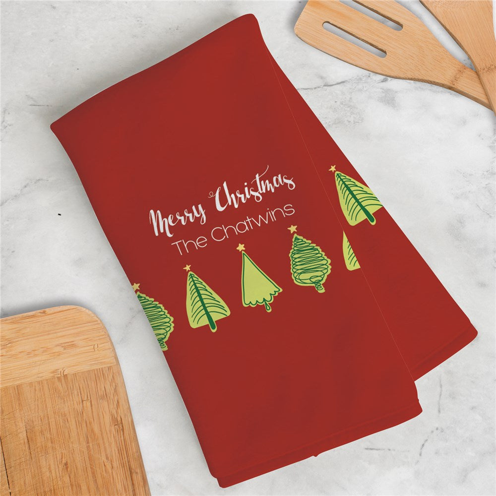 Personalized Christmas Tree Dish Towel