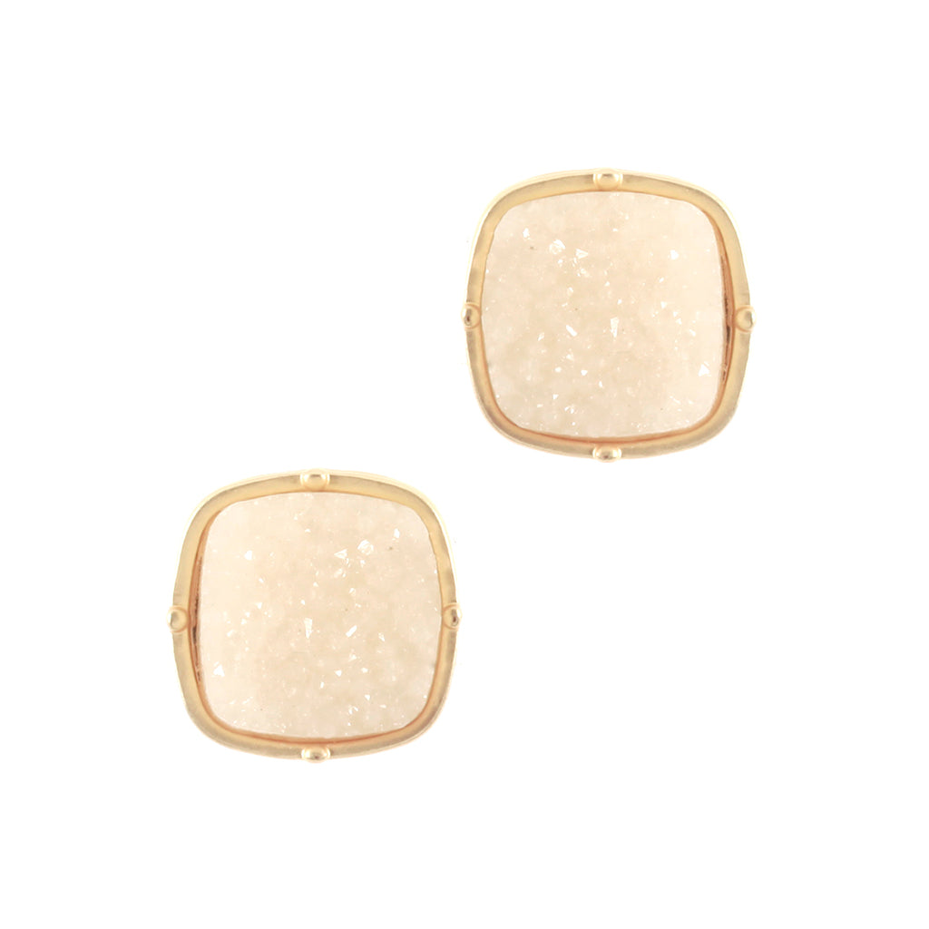 Cream Druzy Stud Earrings