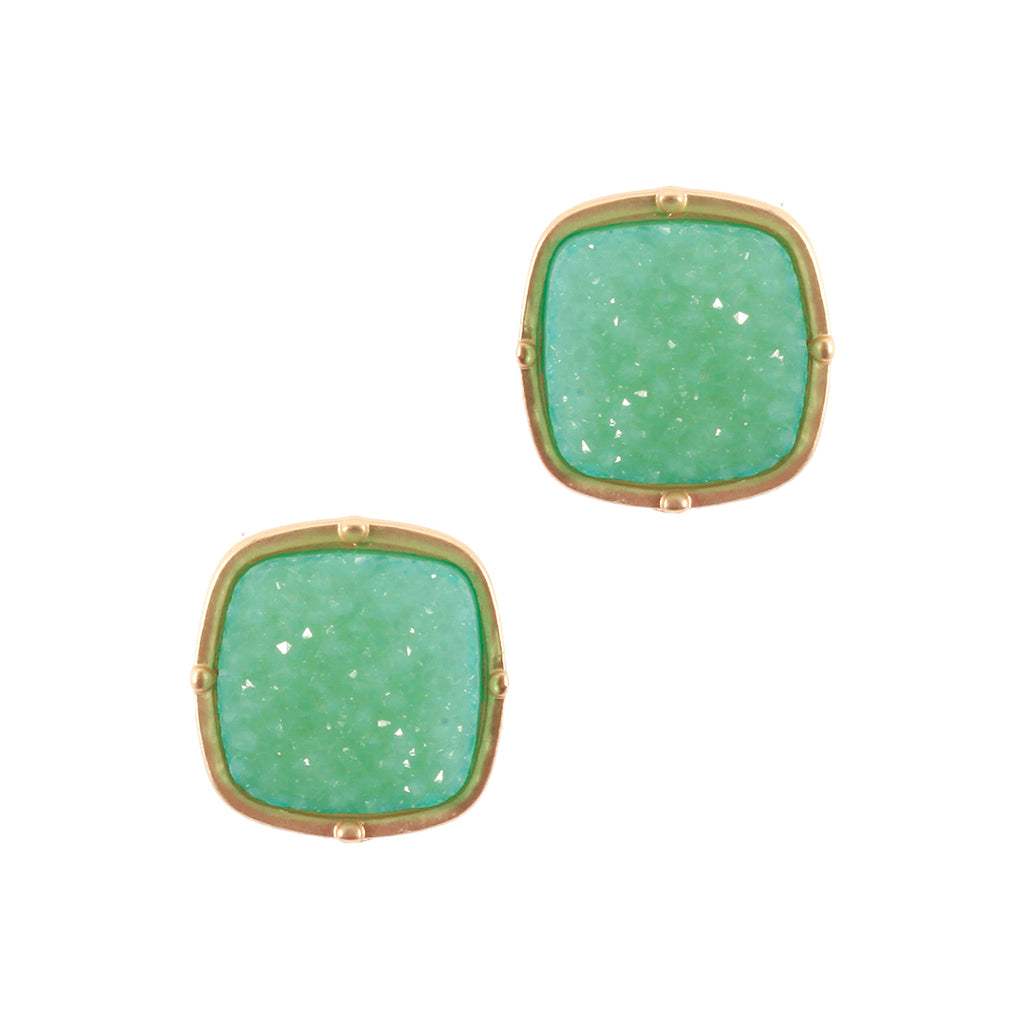 Mint  Druzy Stud Earrings