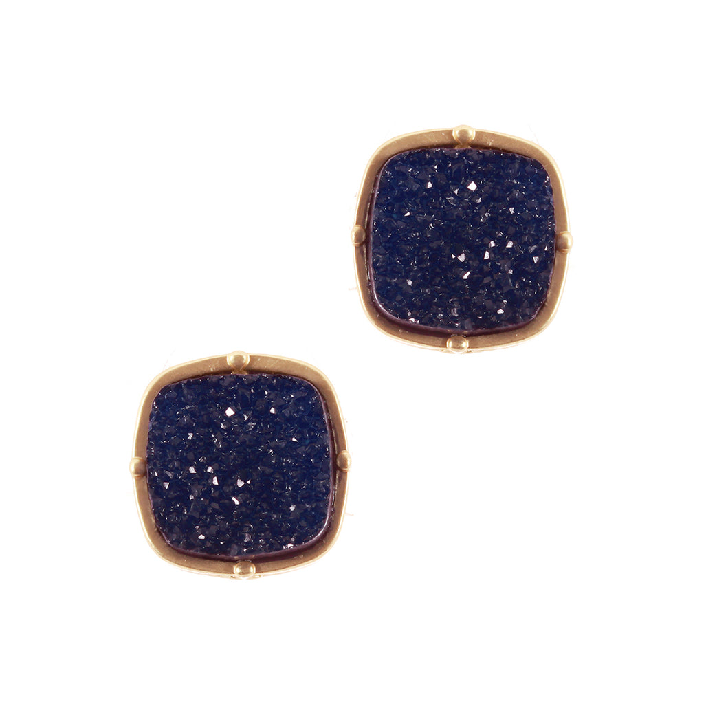 Navy Druzy Stud Earrings