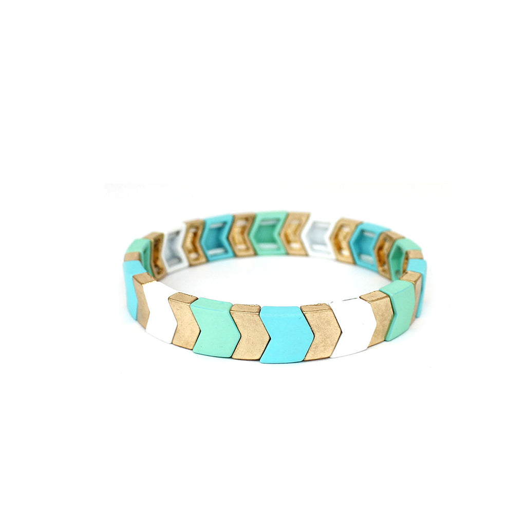 Mint Stretch Chevron Bracelet