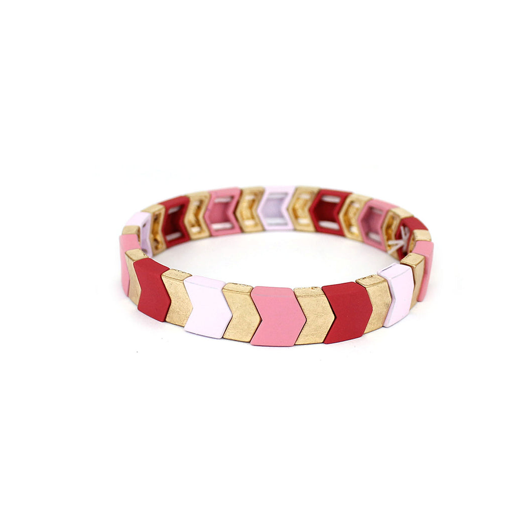 Pink Stretch Chevron Bracelet