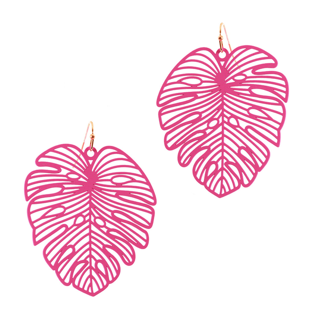 Pink Palm Earrings