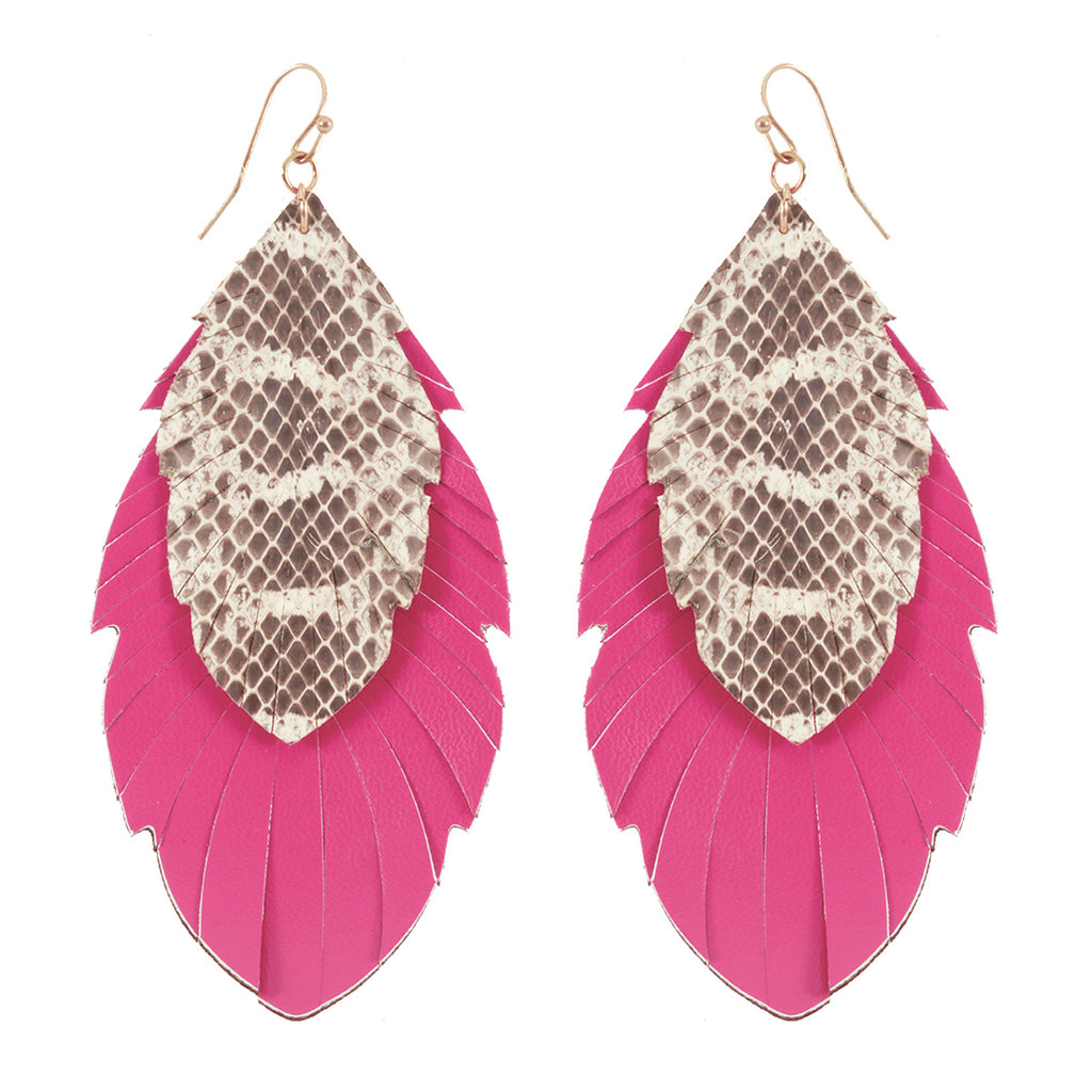 Pink Snakeskin Earrings