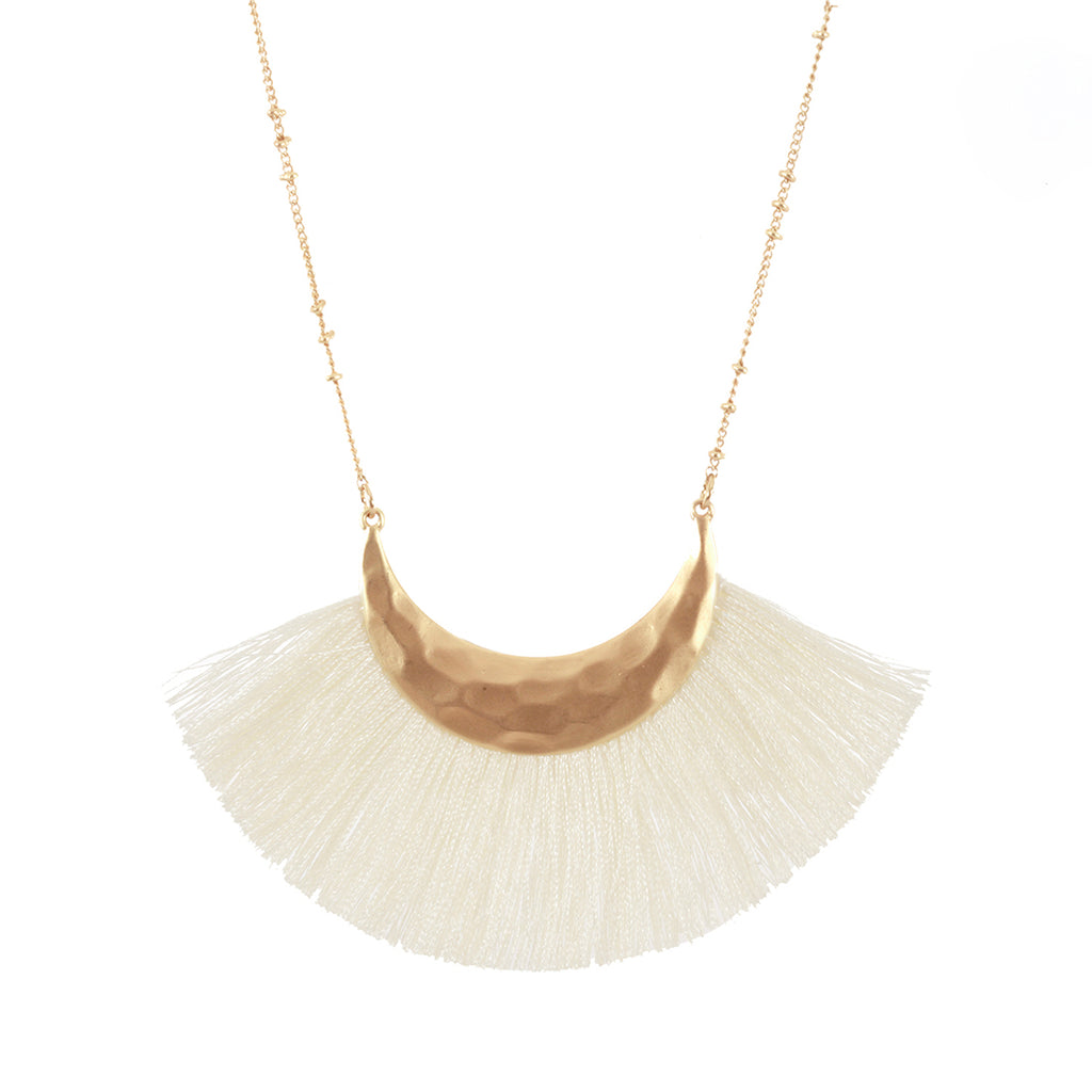 Cream Fringe Necklace