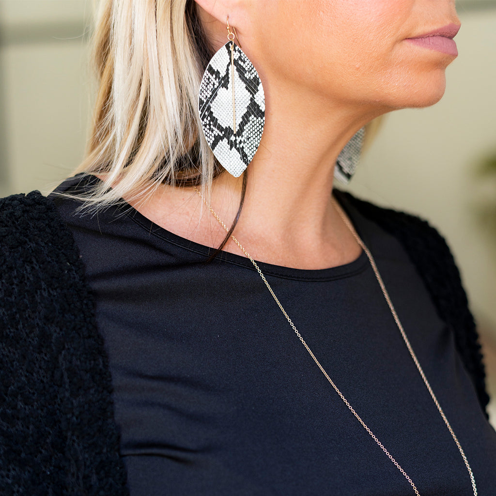 Animal Print Feather Necklace & Earrings - Leopard, Snake, Spotted