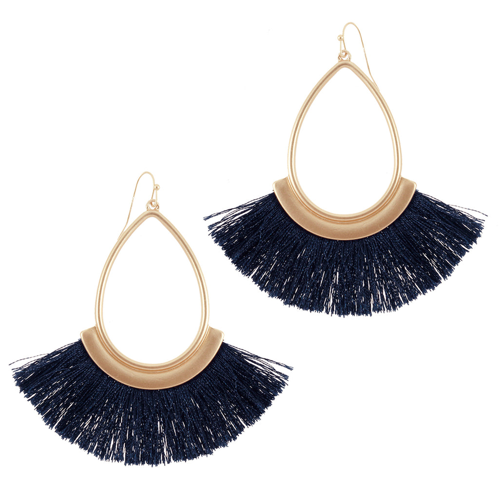 Navy Fringe Earrings