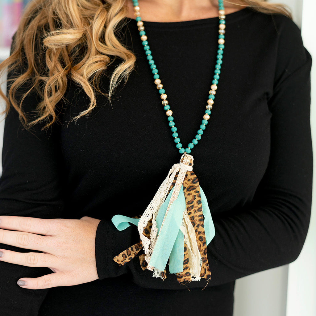Long Tassel Necklace & Earrings - Leopard & Buffalo Check Plaid