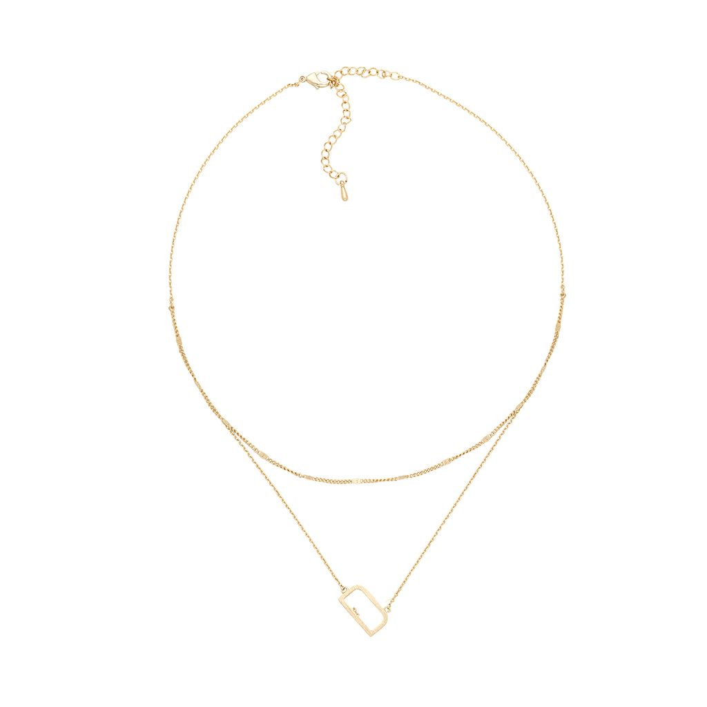 Single Initial Monogram Gold Double Chain Necklace