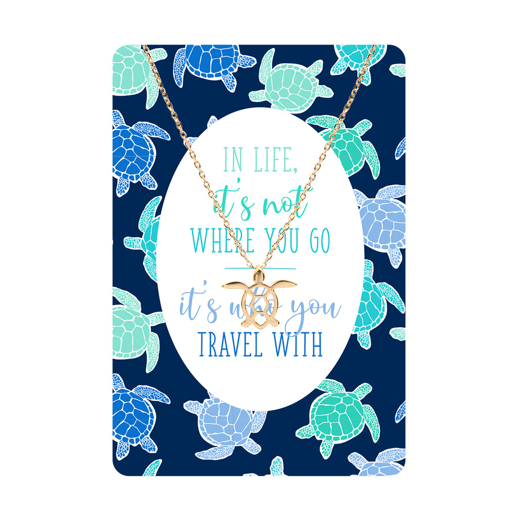 It's Not Where You Go Sea Turtle Necklace & Keepsake Card
