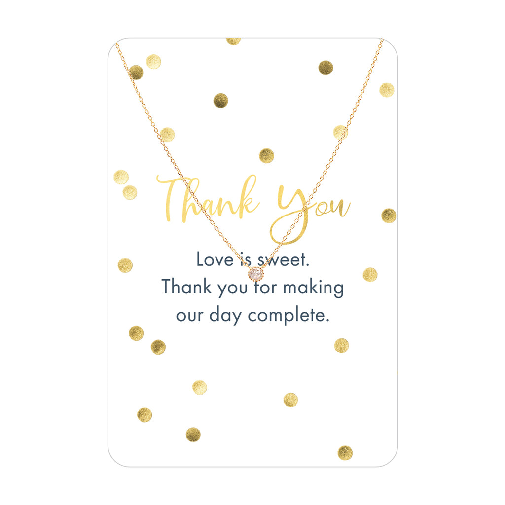 Gold CZ Thank You Keepsake Necklace Card