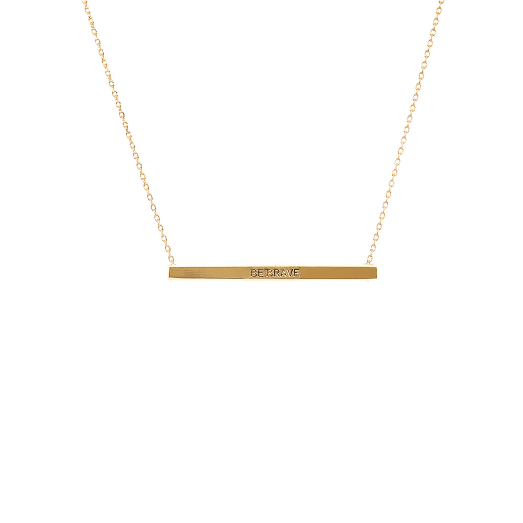Gold Be Brave Bar Necklace
