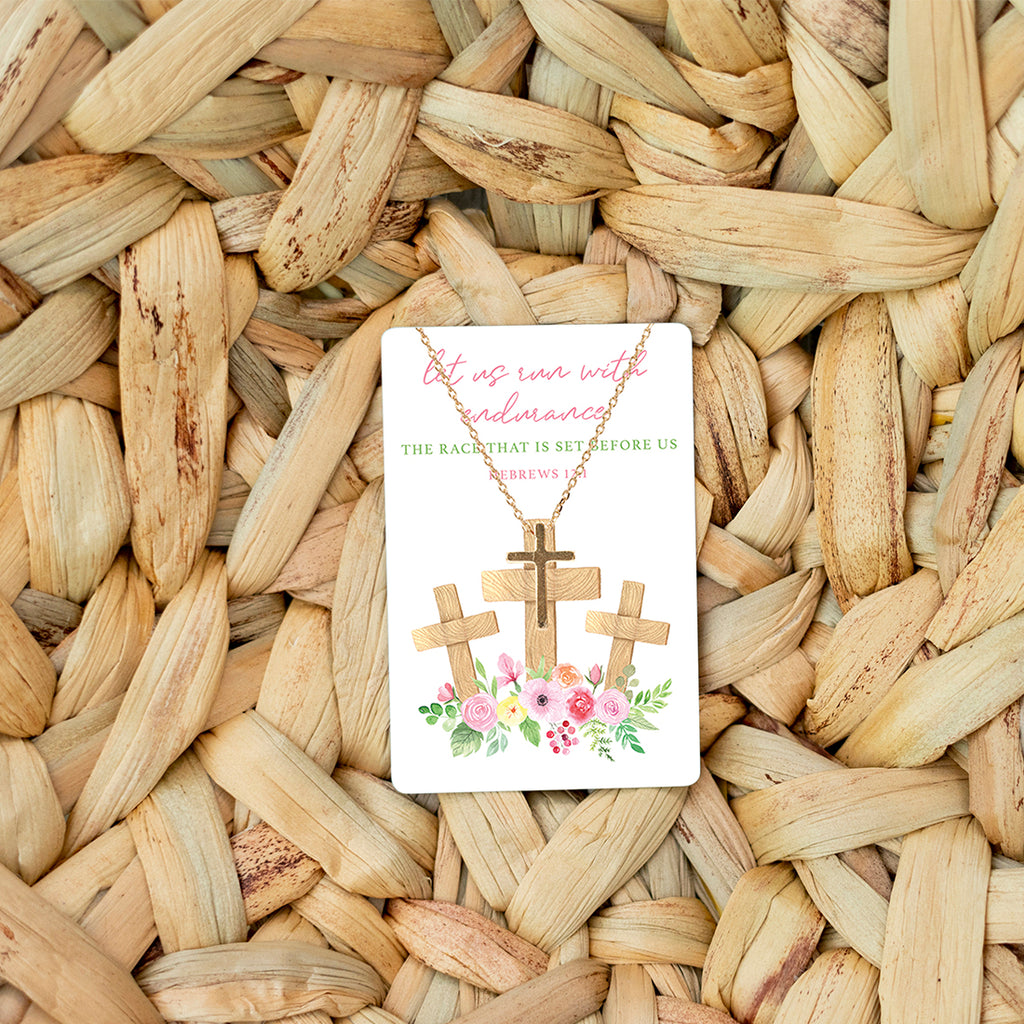 Hebrews 12:1 Keepsake Necklace Card