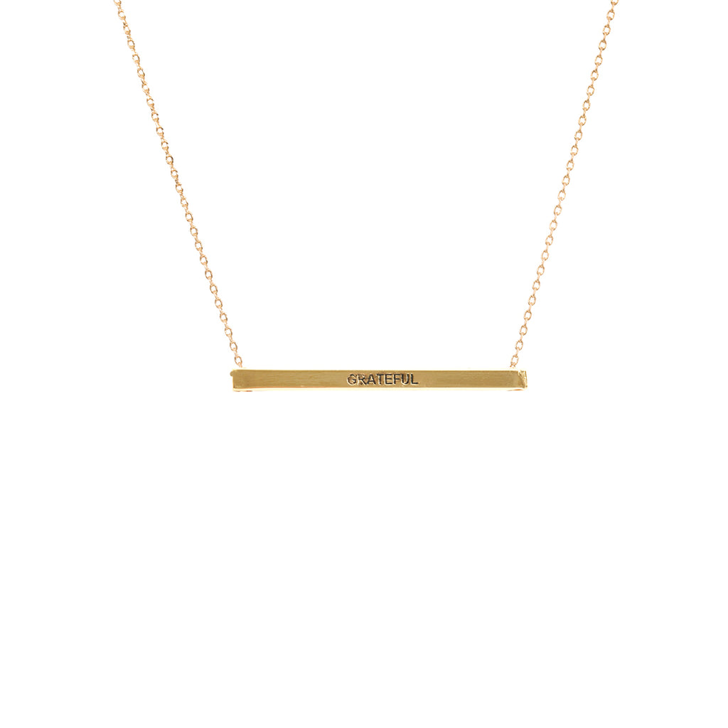 Gold Grateful Bar Necklace