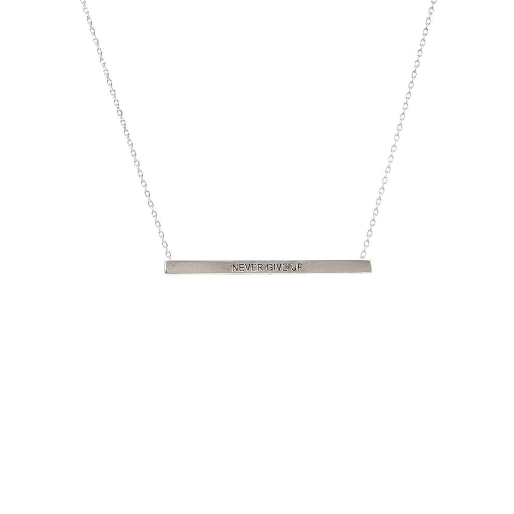 Silver Never Give Up Bar Necklace