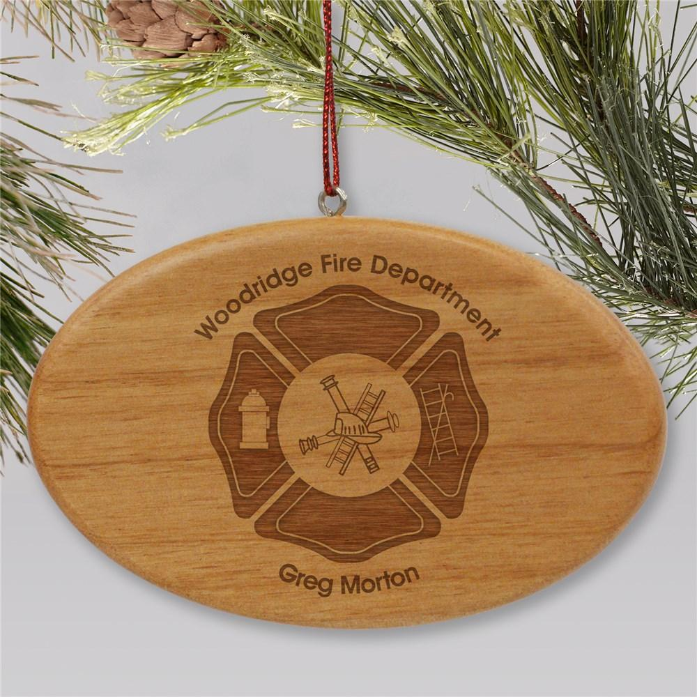 Personalized Engraved Fire Department Wooden Oval Christmas Ornament