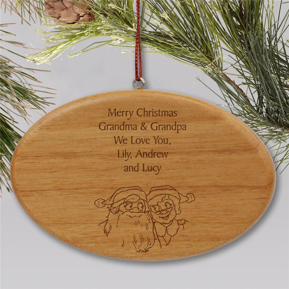 Personalized Engraved Grandparents Wooden Oval Christmas Ornament