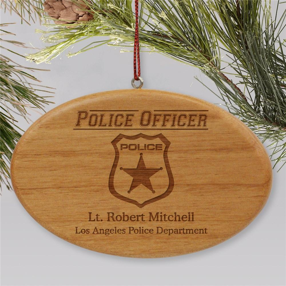 Personalized Engraved Police Officer Wooden Oval Holiday Ornament