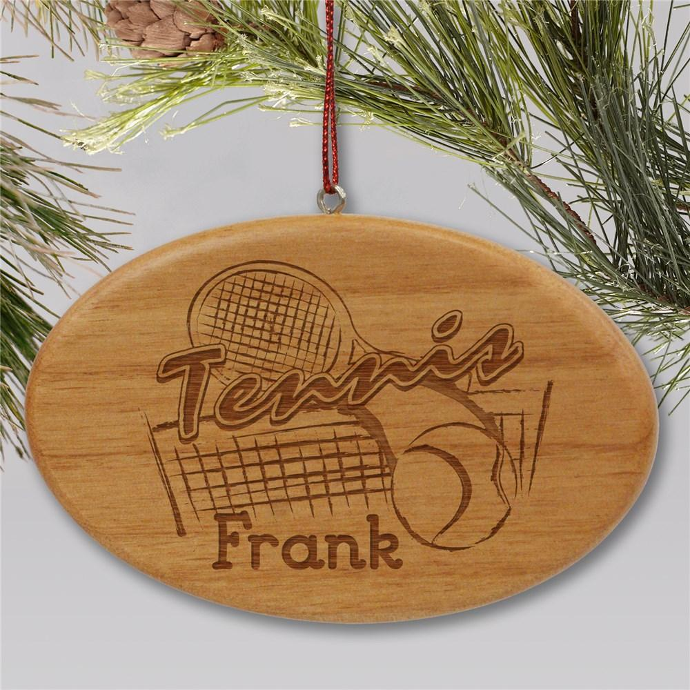 Personalized Engraved Tennis Wooden Oval Christmas Ornament