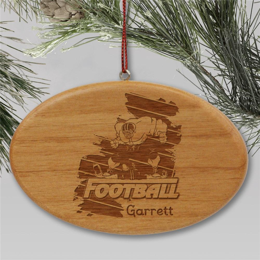 Personalized Engraved Football Player Holiday Ornament