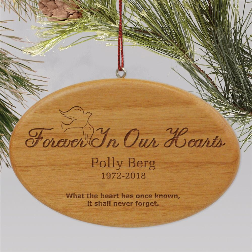 Personalized Wooden Forever In Our Hearts Memorial Christmas Ornament