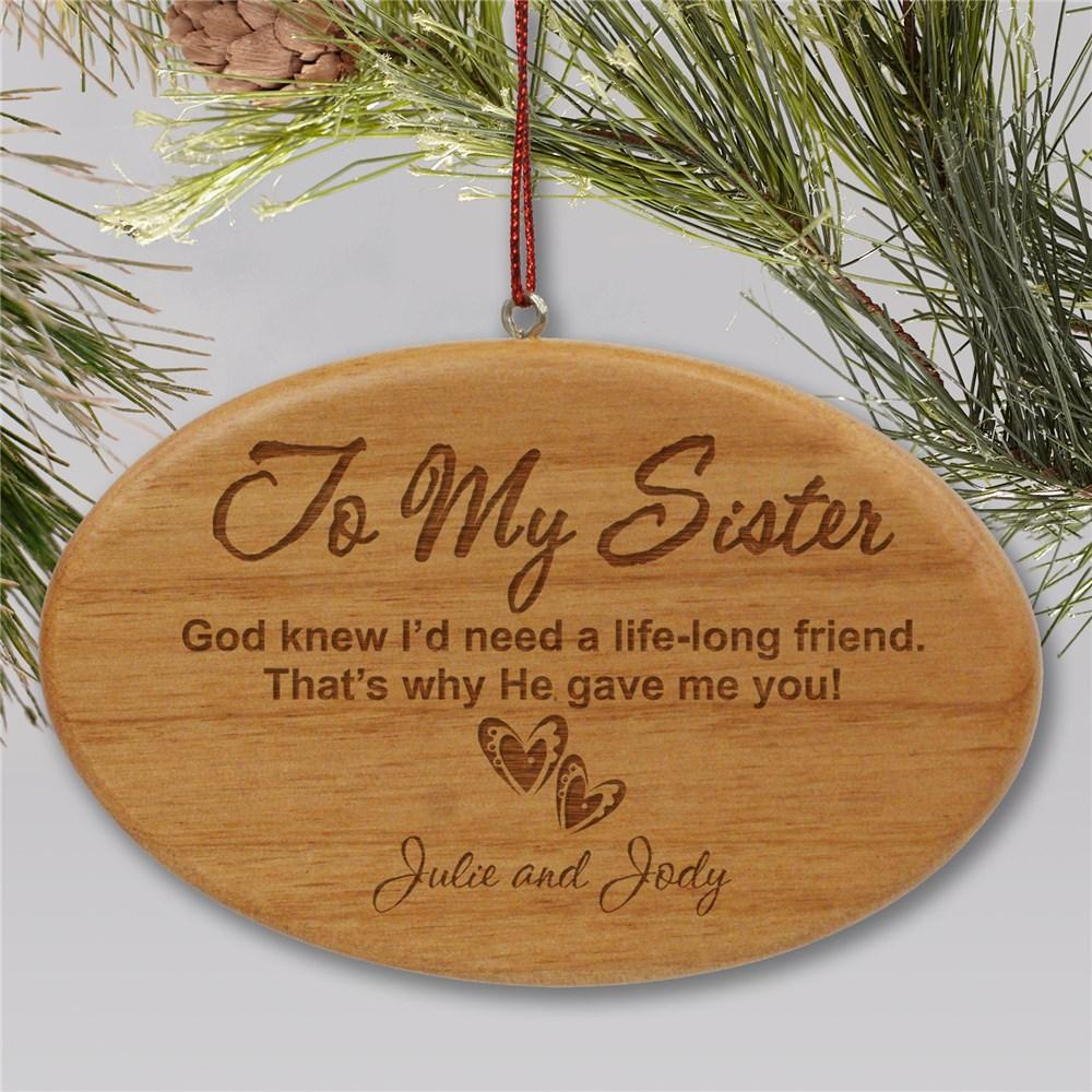 Personalized Engraved Sister Wooden Oval Holiday Ornament