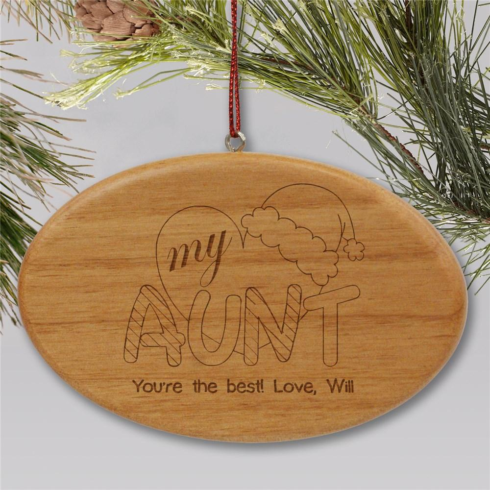 Personalized Engraved Heart My Aunt Wood Oval Christmas Ornament