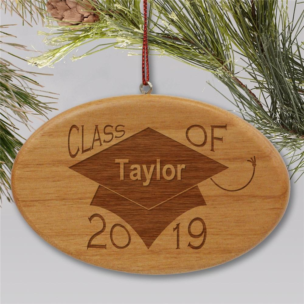 Personalized Engraved Class Of Wooden Oval Holiday Ornament