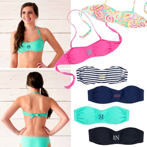 Monogrammed Personalized Swim Suit Bandeau Bikini Top Swimming - Gifts Happen Here - 1