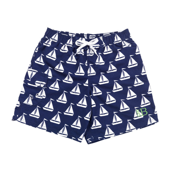 Personalized Boys Swim Trunks Shorts Sailboat - Gifts Happen Here - 1