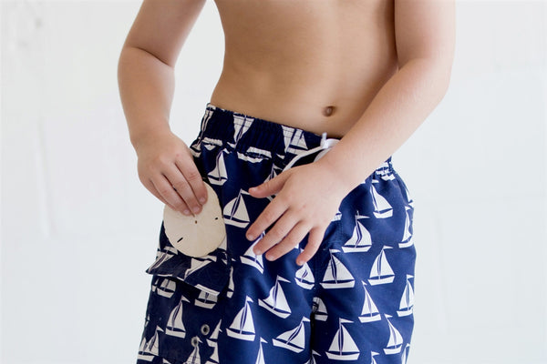Personalized Boys Swim Trunks Shorts Sailboat - Gifts Happen Here - 2