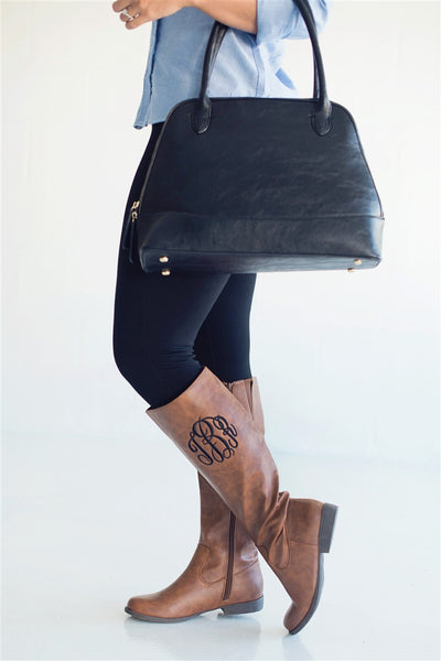 Monogrammed Boots Personalized Brooklyn Black Brown - Gifts Happen Here - 10