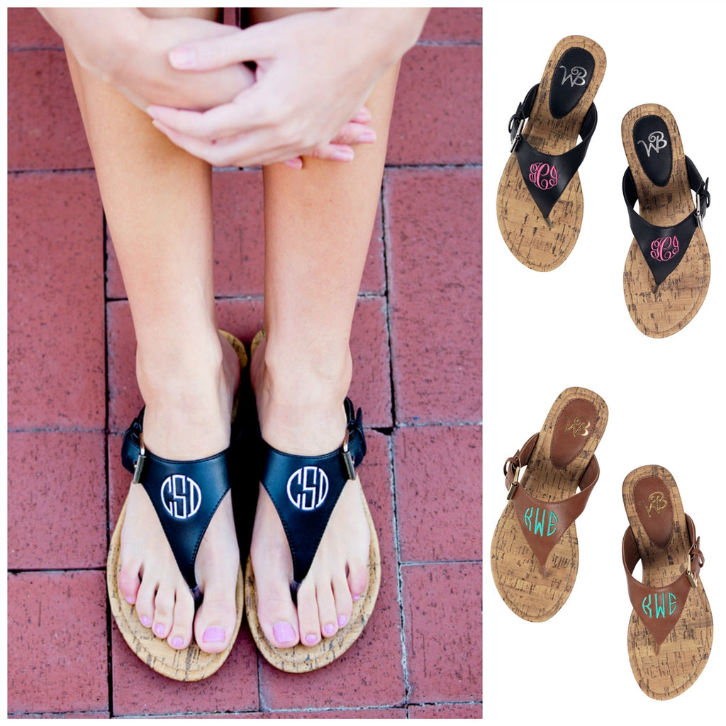 Personalized Monogrammed Sandals Brown or Black Strap - Gifts Happen Here - 1